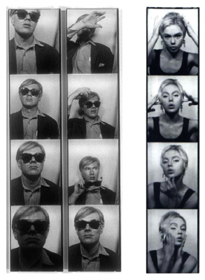 "Andy Warhol and Edie Sedgwick in their photo booth photos - Andy's ""selfie"" and Edie ""striking a pose - or four"""